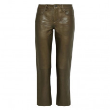 muubaa cropped leather straight leg pants
