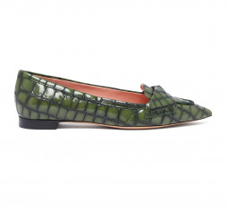 Crocodile Effect Leather Flats by Rochas