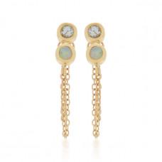 scosha infinity 10k gold white sapphire and opal earrings