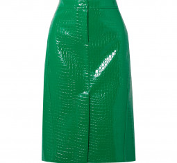 Croc Effect Faux Patent Leather Midi Skirt by Tibi
