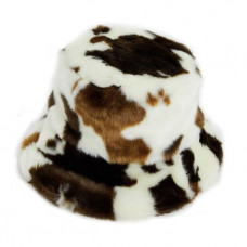 asos faux fur bucket hat in cow print