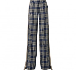 Grosgrain-Trimmed Checked Woven Wide-Leg Pants by Monse