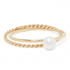 poppy finch crisscross 14 karat gold pearl ring