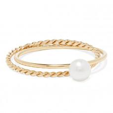 poppy finch crisscross 14 karat gold pearl ring
