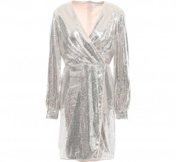 Silver Wrap Sequined Tulle Mini Dress by Sachin & Babi