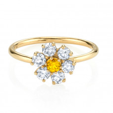 the last line diamond teddy flower ring