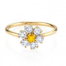 the last line diamond teddy flower ring