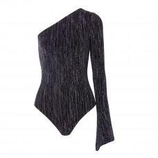 alix nyc eldridge one sleeve metallic stretch knit thong bodysuit