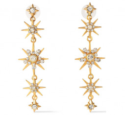 24-Karat Gold-Plated Swarovski Crystal Earrings by Elizabeth Cole