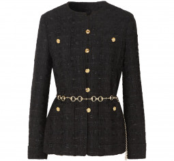 Belted Button-Embellished Tweed Jacket by Gucci