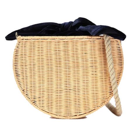 kayu dylan wicker and velvet shoulder bag