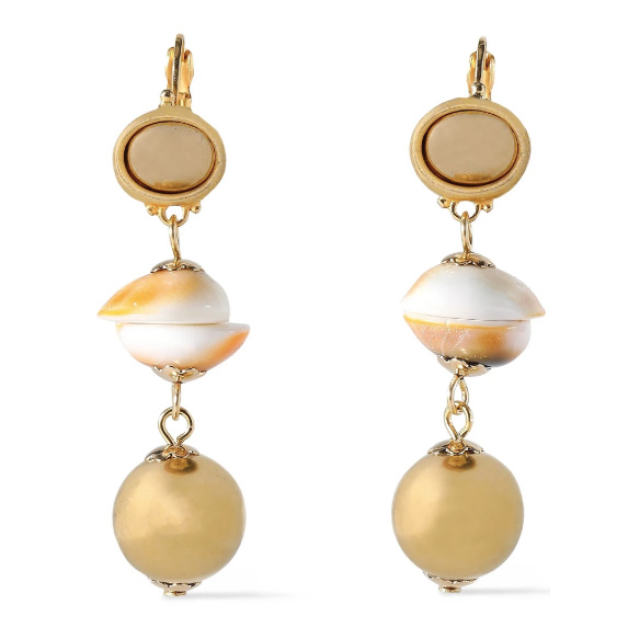 kenneth jay lane gold plated shell earrings