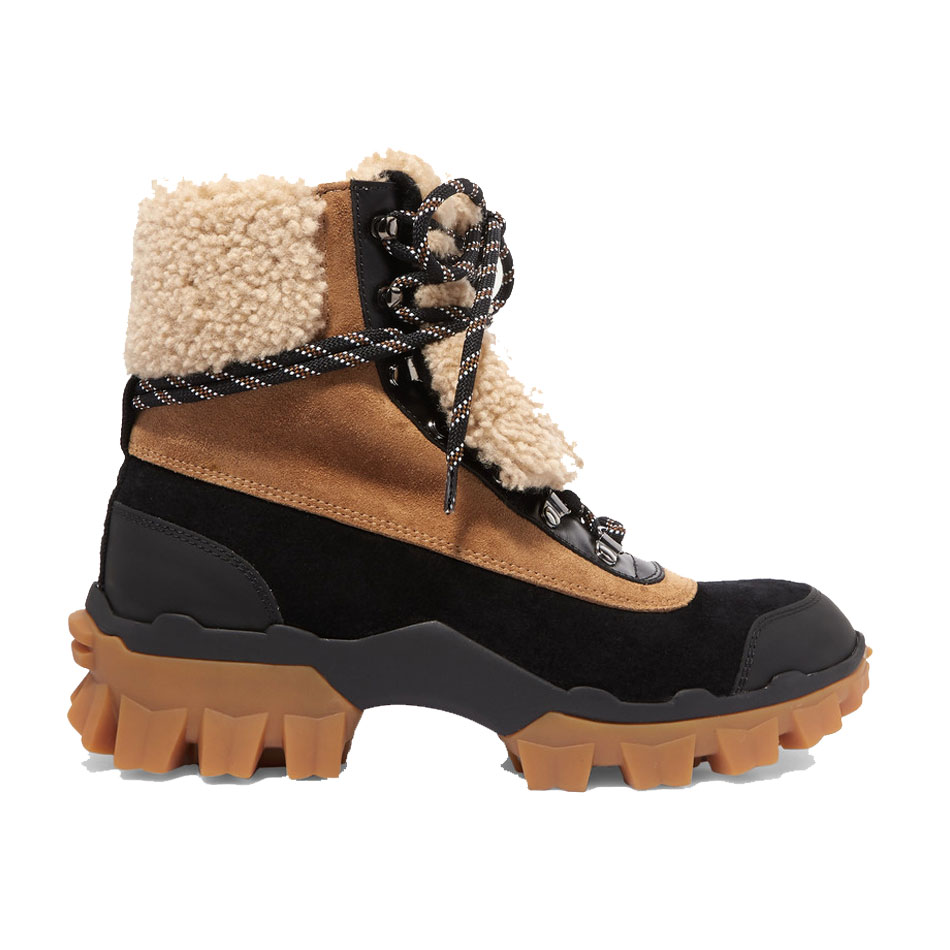 moncler harriet suede shearling and leather ankle boots