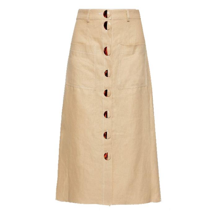 nicholas button detailed linen midi skirt