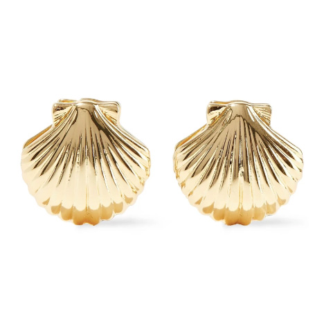 noir jewelry happy as a clam 14 karat gold plated clip earrings