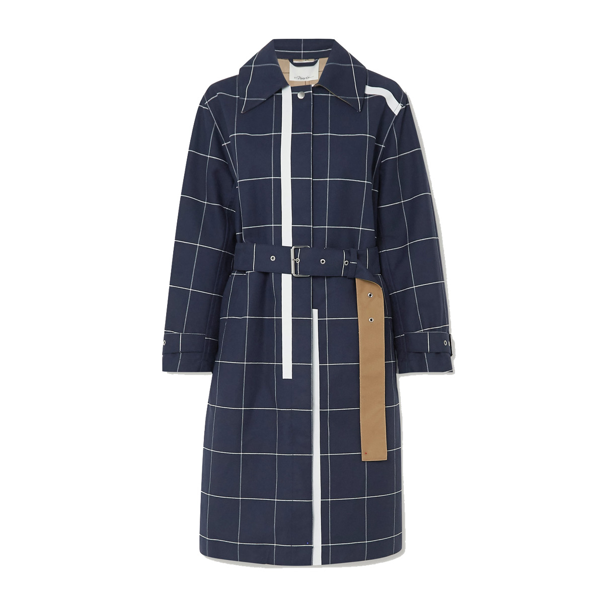 3 1 phillip lim belted checked cotton blend garbadine trench coat