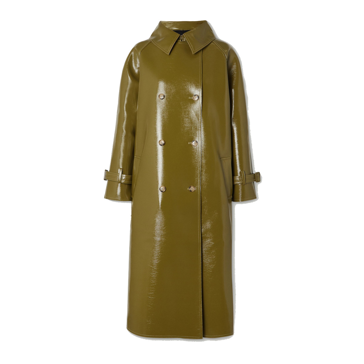 frankie shop oversized double breasted glossed faux textured leather trench coat