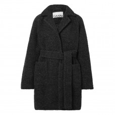 ganni belted wool blend boucle coat