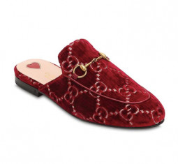 10mm Princetown GG Supreme Velvet Mules by Gucci