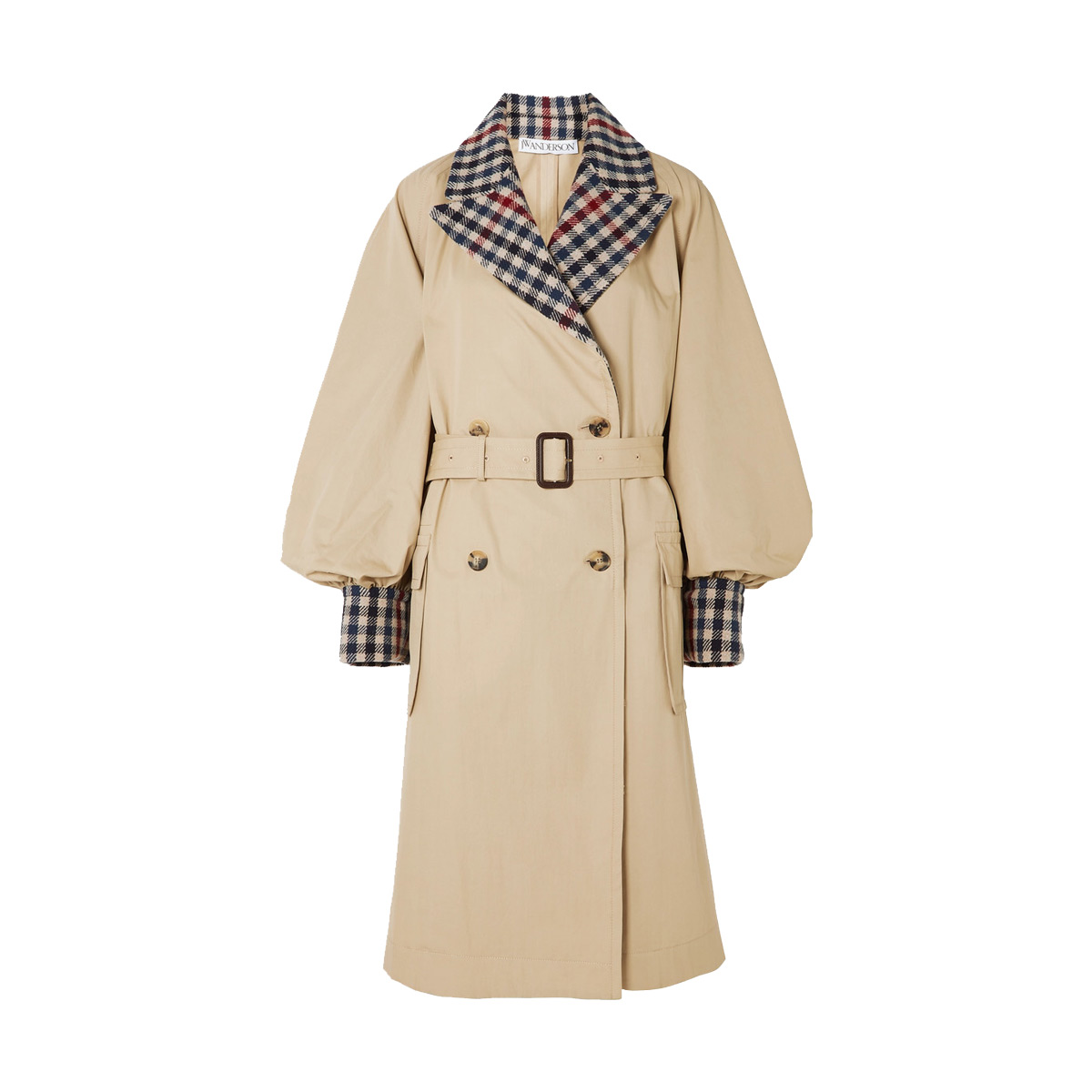 jw anderson belted checked wool blend and cotton gabardine trench coat