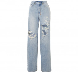Playback Kut Up Distressed High-Rise Straight-Leg Jeans by Ksubi