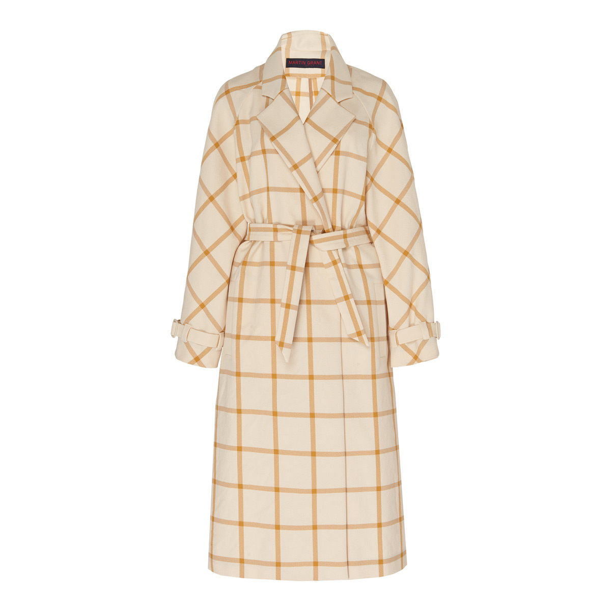 martin grant checked twill trench coat