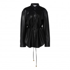 nanushka eddy belted faux leather shirt