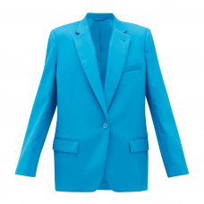 the attico single breasted cotton blend suit jacket