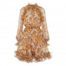 zimmermann ruffled floral print silk chiffon mini dress
