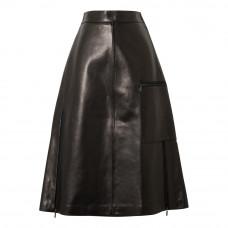 acne studios ligrid paneled leather skirt