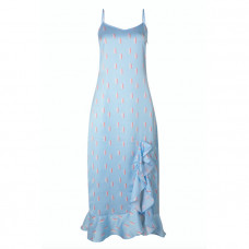 cinta the label light blue rainbow print ruffle slip dress