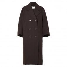 ganni oversized double breasted prince of wales check gabardine coat