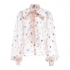 lirika matoshi pink sky tie front blouse