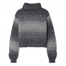 rta beau cropped distressed ombre cotton turtleneck sweater