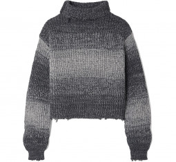 Beau Cropped Distressed Ombre Cotton Turtleneck by RtA