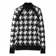 balmain button embellished houndstooth knitted sweater