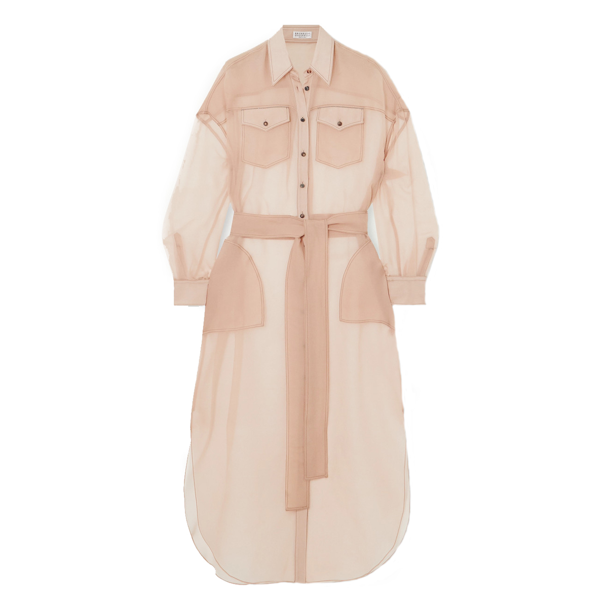 brunello cucinelli bead embellished silk chiffon shirt dress