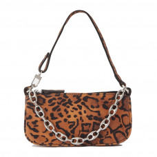 by far rachel mini chain embellished leopard print suede shoulder bag