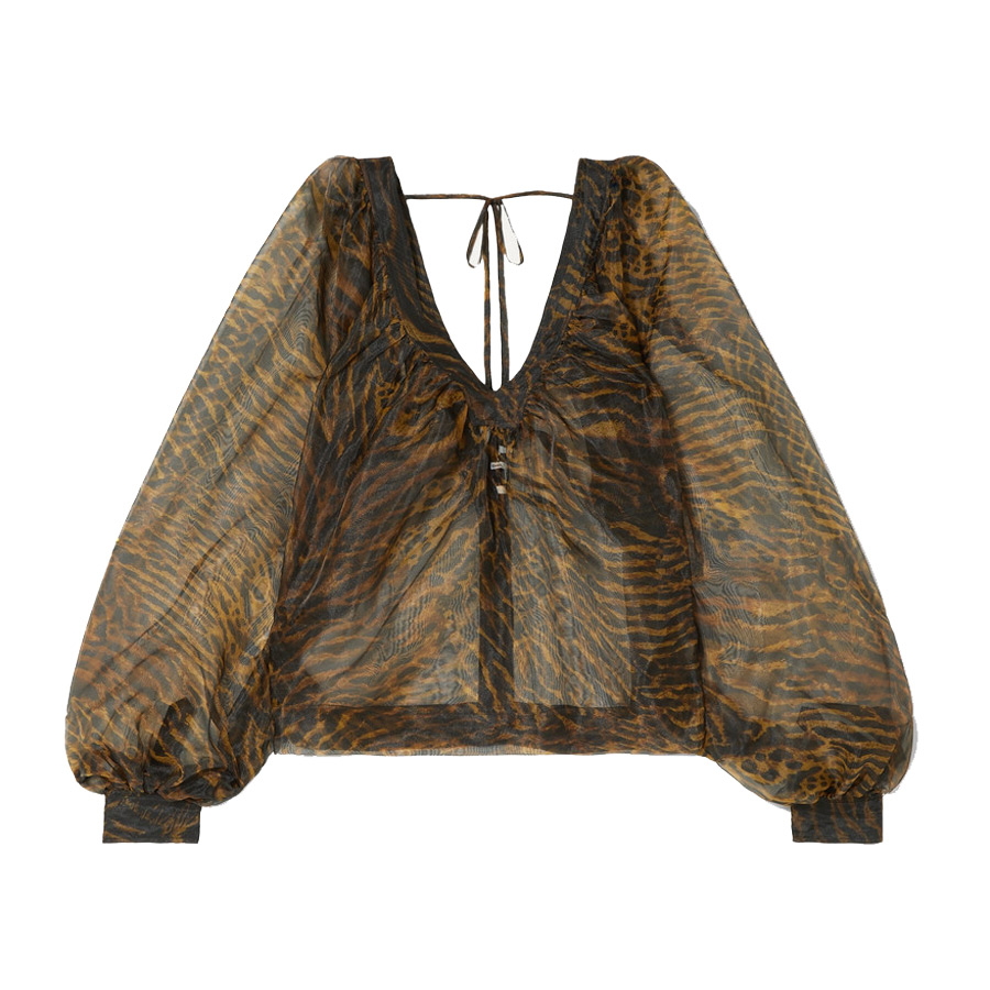 ganni printed organza blouse