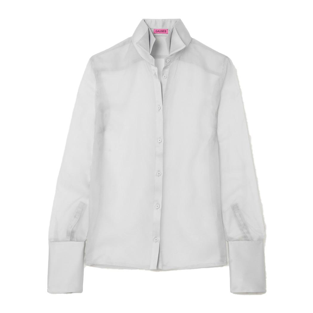 gauge81 rio satin trimmed silk organiza blouse