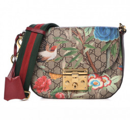GG Supreme Monogram Medium Tian Print Padlock Shoulder Bag by Gucci