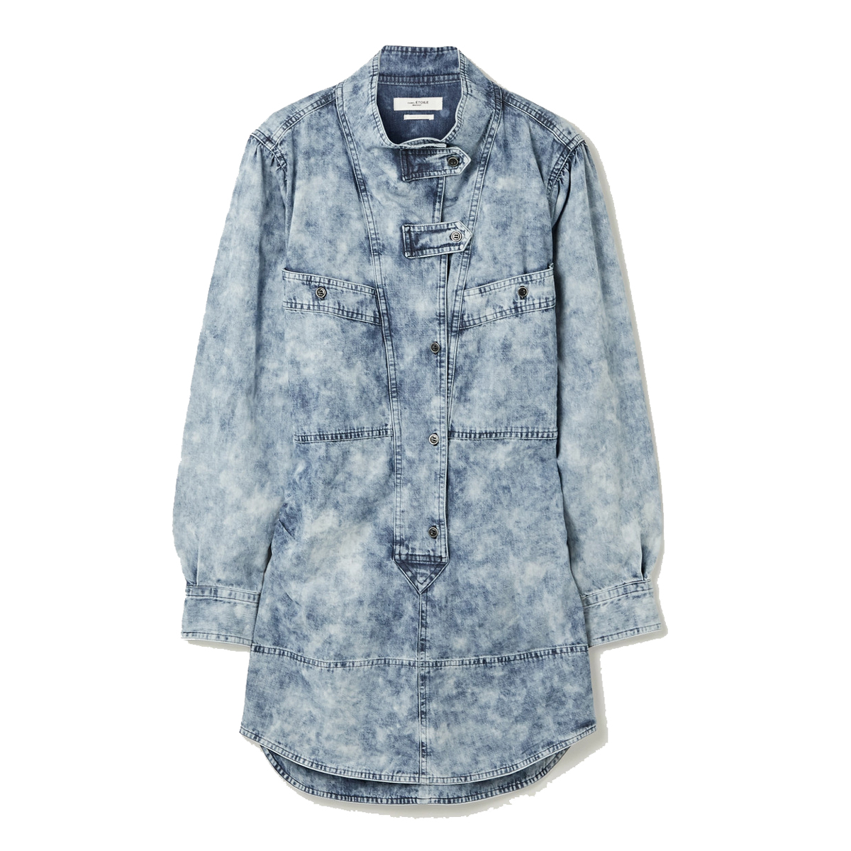 isabel marant etoile inaroa acid wash denim mini dress