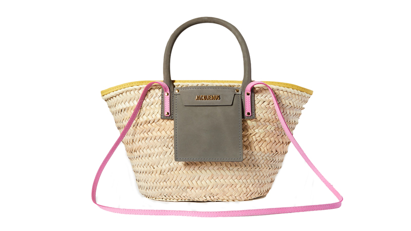 jacquemus soleil nubuck trimmed straw tote