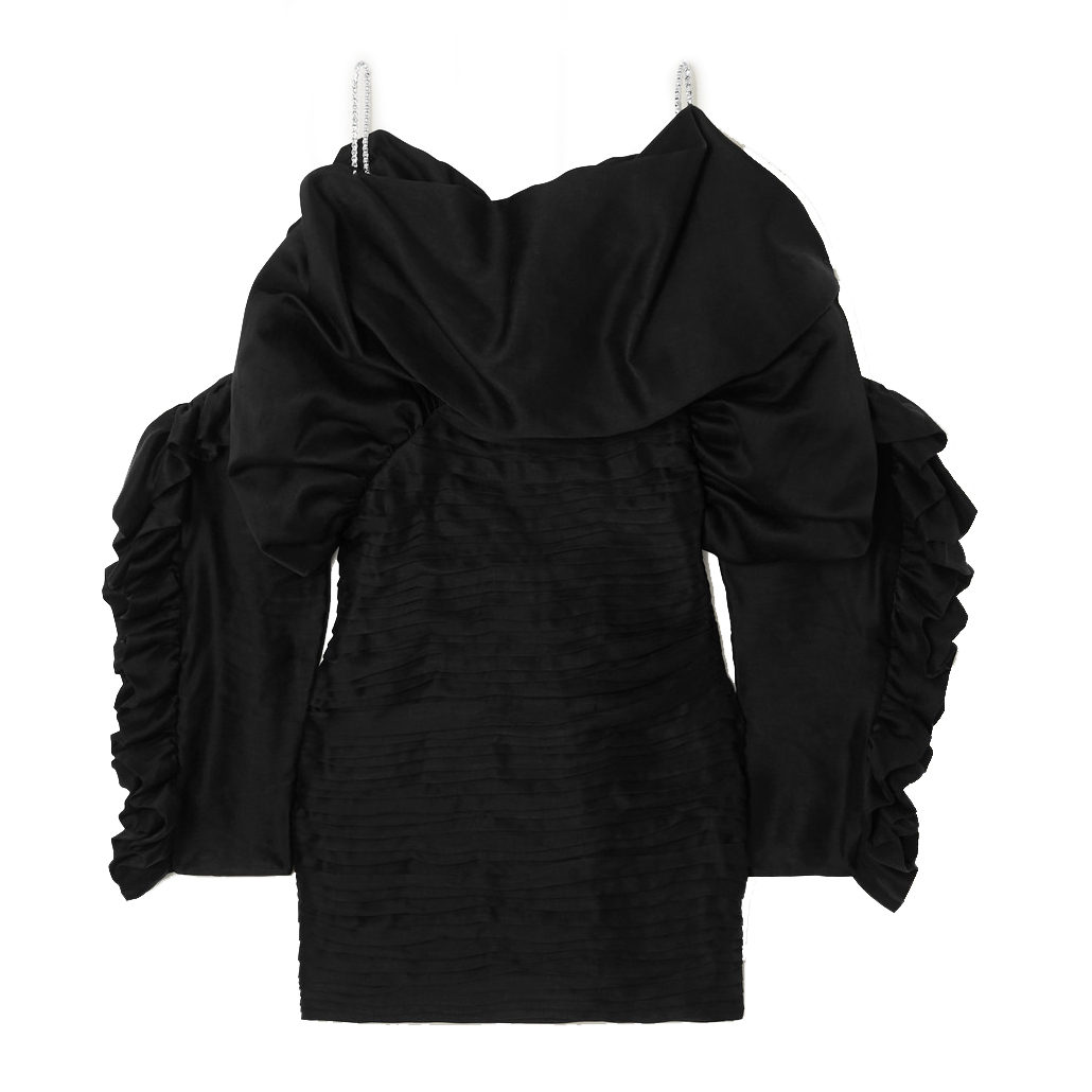 magda butrym trani crystal embellished ruffled satin mini dress