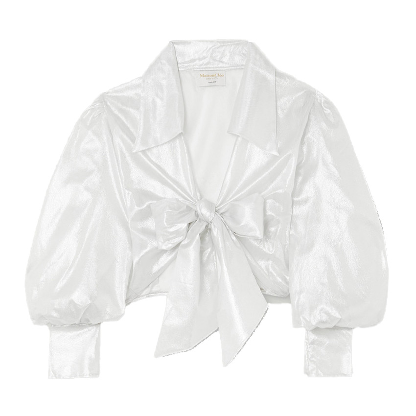 maisoncleo julie metallic silk mesh wrap top