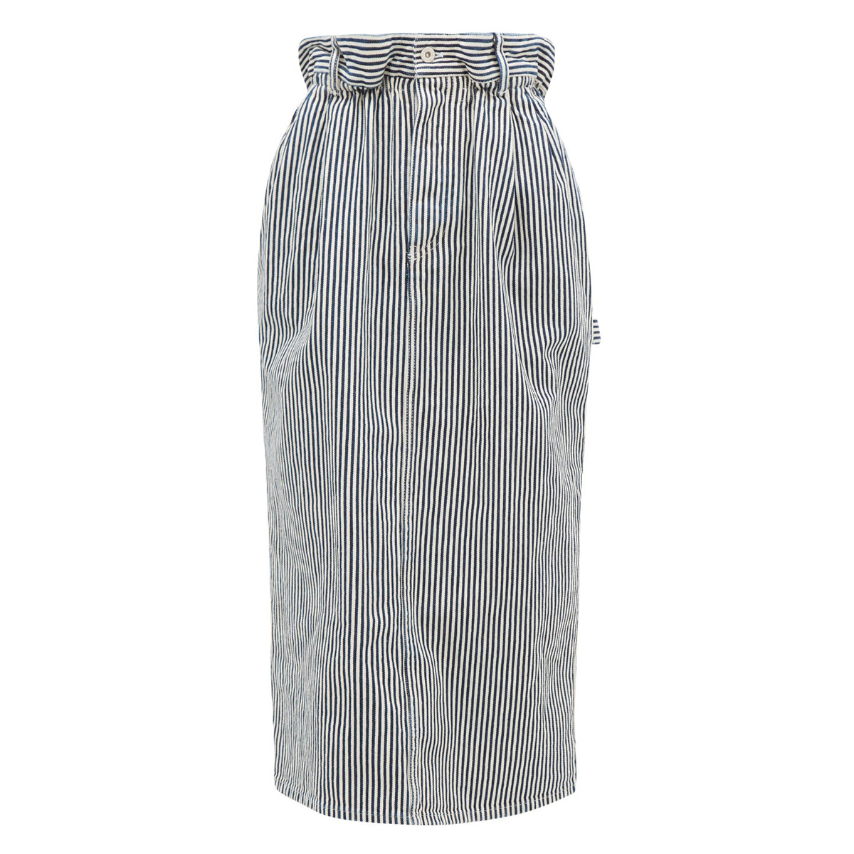 miu miu paperbag waist logo patch striped denim skirt