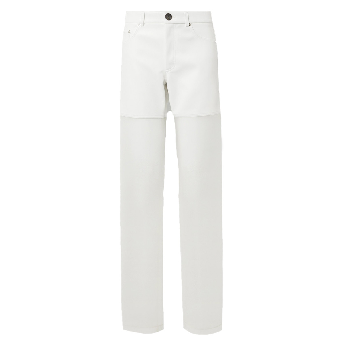 peter do paneled faux leather and organza straight leg pants