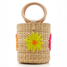 poolside bobbi floral embroidered straw bucket bag