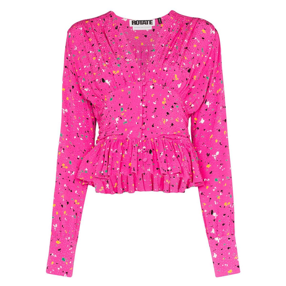 rotate tracy paint splash print blouse
