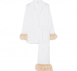 Party Feather-Trimmed Crepe De Chine Pajama Set by Sleeper